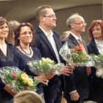 V.v. l. n. r.: Melanie Heczko; Kathrin Vogler; Dominik Rüttjes; Anselm Wegener; Cordula Finke-Hölzl